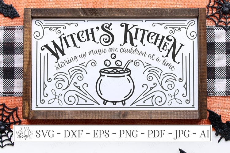 Witch's Witches Kitchen - Cauldron - Halloween SVG DXF EPS example image 1