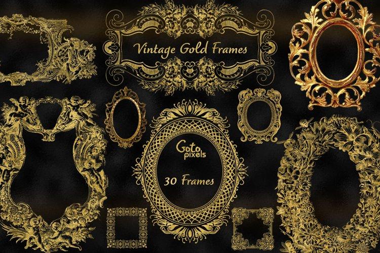 Old Gold Frames Clipart - vintage antique ornamental frames