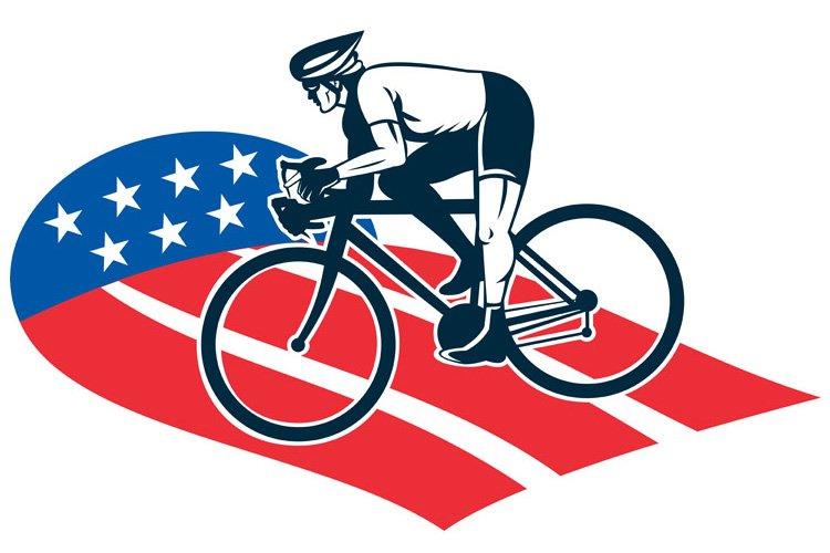 Cyclist riding racing bike star and stripes flag example image 1