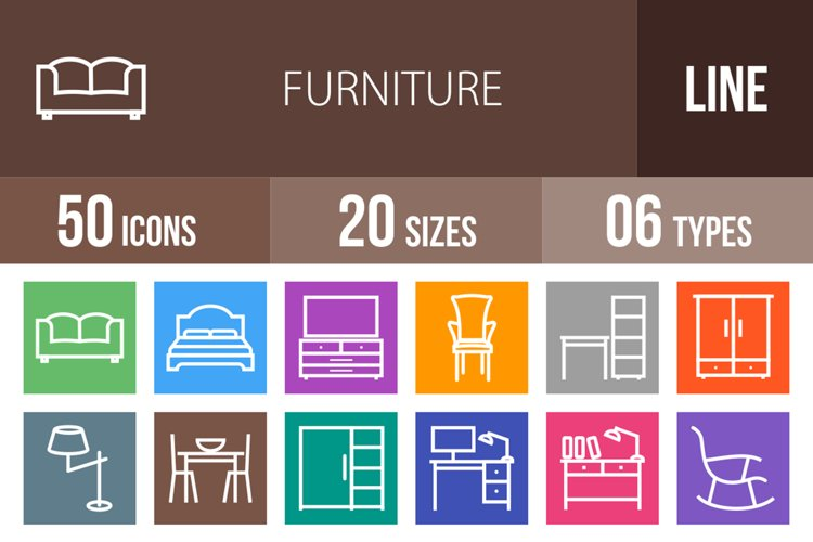 50 Furniture Line Multicolor B/G Icons example image 1