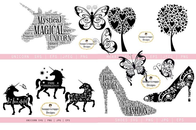 SVG Bundle Unicorn, Butterflies, Trees, Shoes