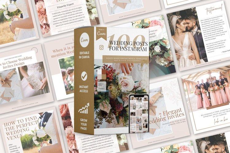 100 Wedding Post Templates, Canva Templates, Social media