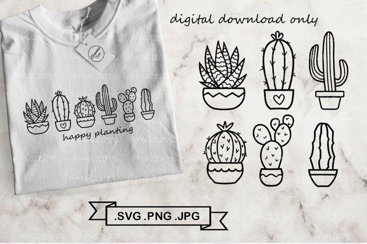Cactus SVG Bundle - Succulent svg - Cactus clip art example image 1