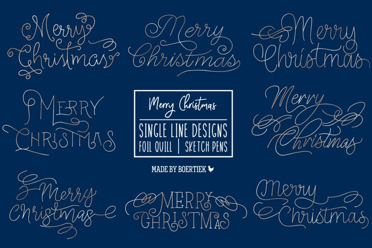 Merry Christmas, Single line for foil quill and Sketch pens