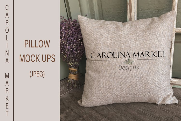 Pillow Mockup | Farmhouse Pillow Cover Mockup | Rustic example image 1
