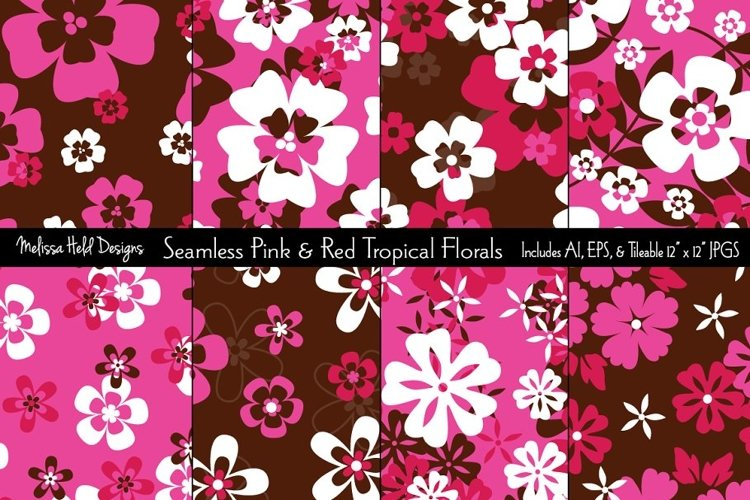 Seamless Pink & Red Tropical Florals