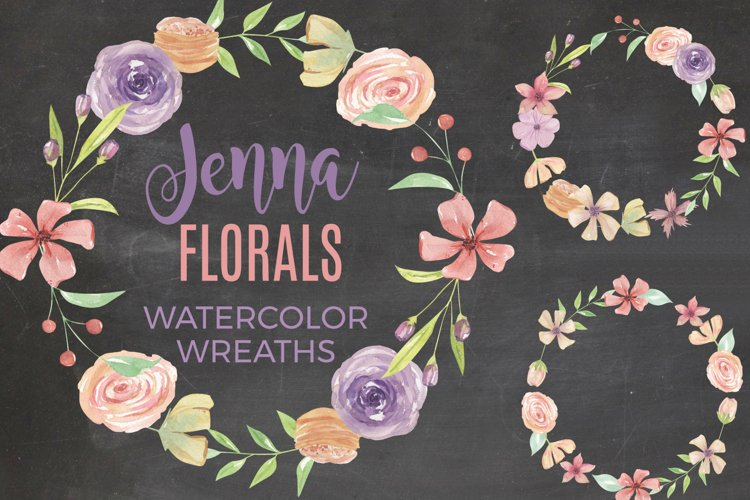 Jenna Floral 7 Wreaths Watercolors Foliage Pastel Purple example image 1