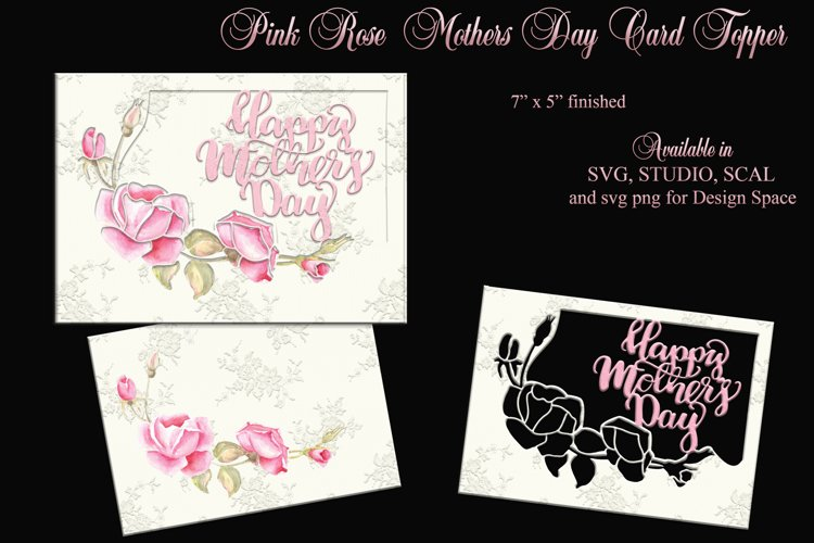 Pink watercolour rose spray Mothers Day card topper. example image 1