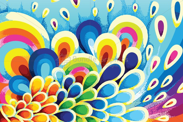 Colorful Floral Scales Vector Graphic Background example image 1