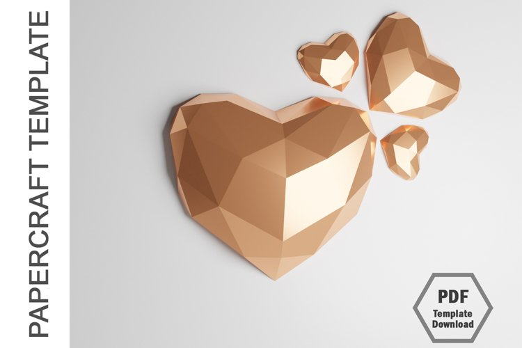 PDF Template of 3D Heart Papercraft Lowpoly Love Papercraft example image 1