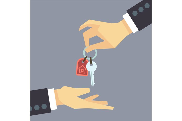 Hand giving house keys. vector real estate, buying home conc example image 1