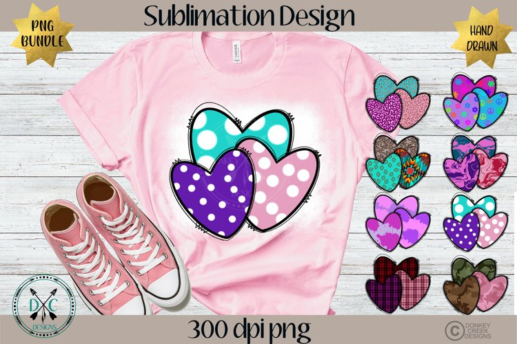Sublimation Designs for Shirts PNG Bundle- Valentine Hearts example image 1