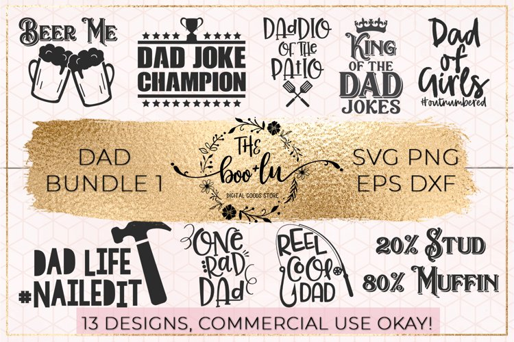 Dad Bundle of 13 SVG DXF PNG EPS Cut File Fathers Day
