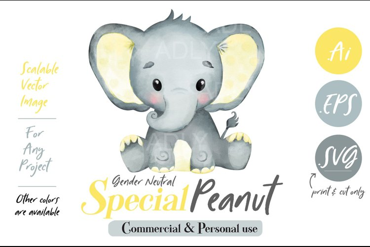 Baby Elephant, PNG, EPS, SVG, yellow color, Clip Art, vector example image 1