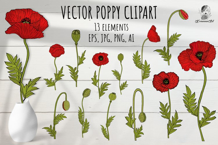 Poppies vector colorful clipart! example image 1