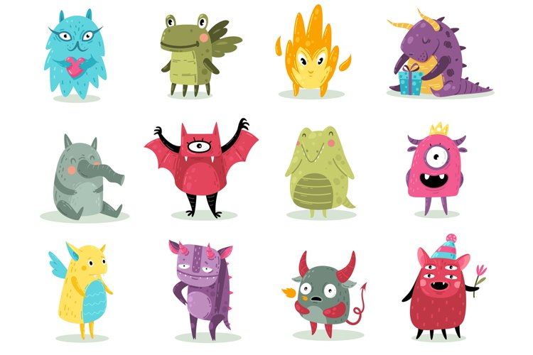 Cute monsters. Funny fabulous incredible creatures with smil example image 1