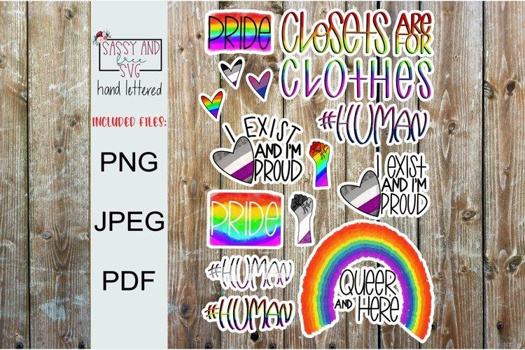 LGBTQ Printable Sticker Sheet l Digital Stickers