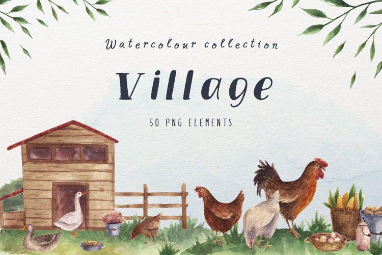 Village watercolor clipart