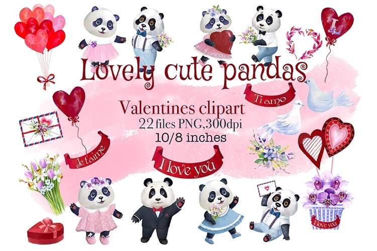 Valentines Day watercolor clipart, funny pandas example image 1