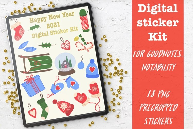 Digital planner sticker Kit for Goodnotes.Christmas Stickers example image 1