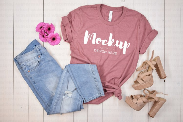 Bachelorette Party Mockup, Pink Shirt Mock up, Bella Canvas example image 1