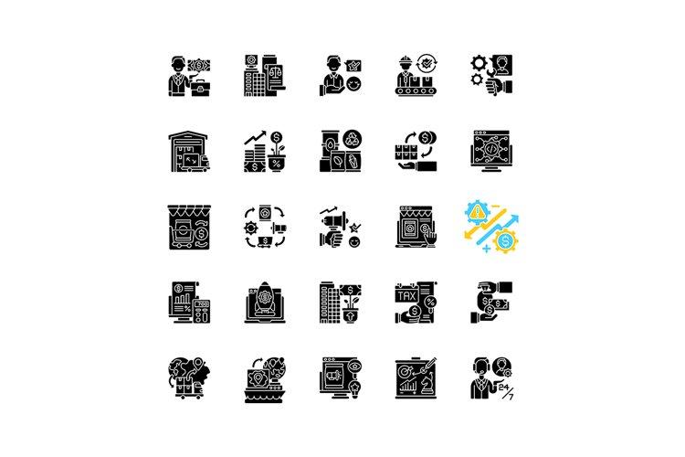Entrepreneurship black glyph icons set on white space example