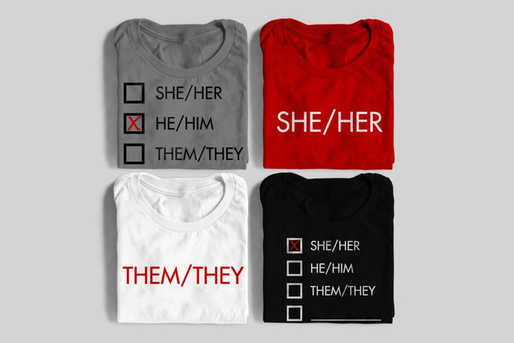 Personal Gender Pronouns SVG File Cutting Template example image 1