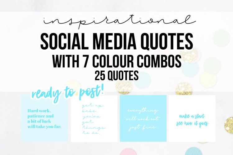 25 x Blue Inspirational Social Media Quotes Pack example image 1