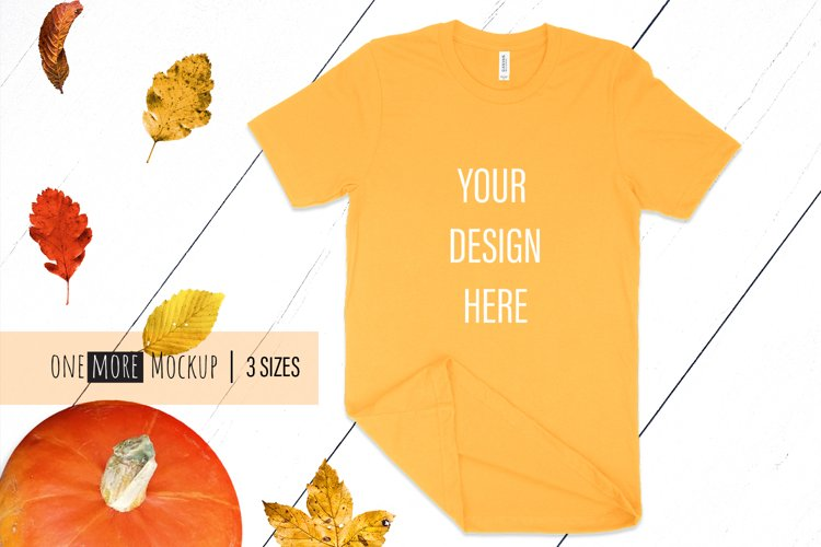 Fall T-Shirt Mockup I Bella Canvas 3001 Gold Mockup example image 1