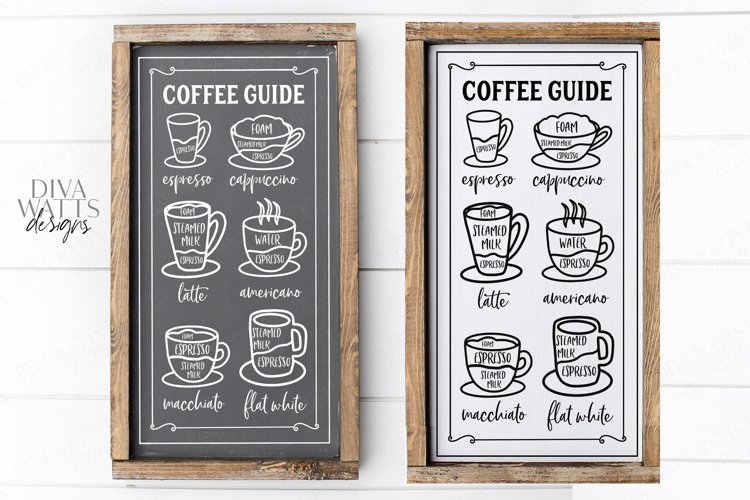 Coffee Bar - Guide Cheat Sheet - Farmhouse Kitchen Sign SVG example image 1