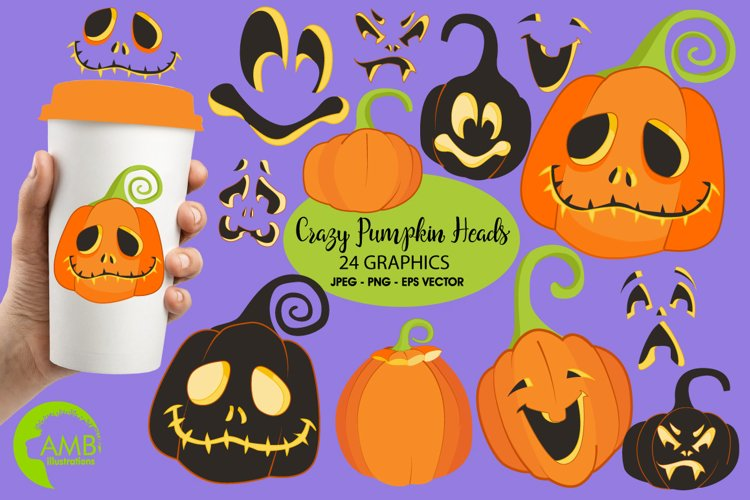 Crazy PumpkinHeads clipart, graphics Illustrations AMB-2256 example image 1