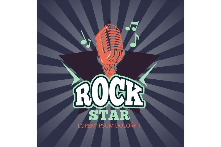 Retro karaoke music club, audio record studio vector logo, b example image 1