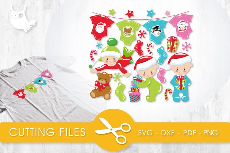 Christmas Babies Babies cutting files svg, dxf, pdf, eps included - cut files for cricut and silhouette - Cutting Files SVG example image 1