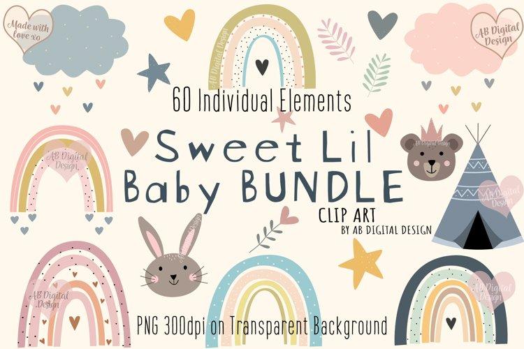 Baby Nursery Clipart Bundle, Baby Shower, Animals, Rainbows