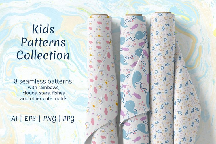 Kids seamless patterns collection. example image 1