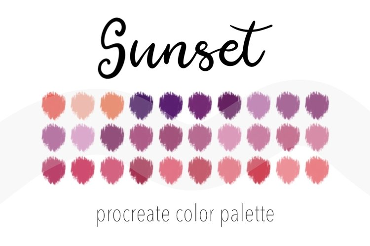 Sunset color palette for Procreate. Color Swatches.