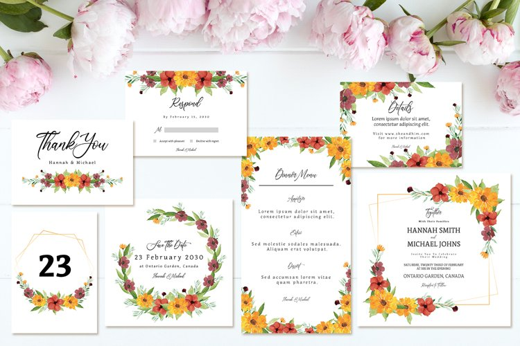 Lovely Yellow Brown Rustic Floral Wedding Invitation Suite example image 1