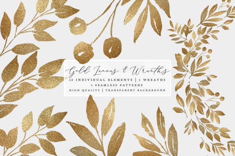 Gold leaves and wreaths, gold foil leaves clip art example image 1