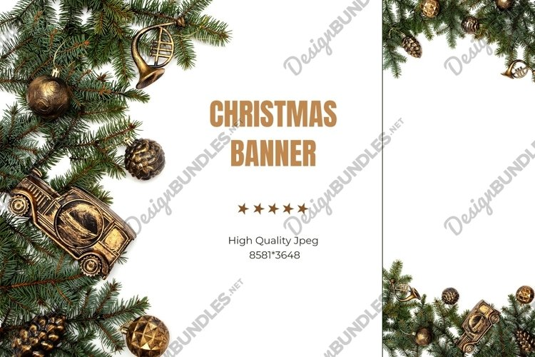 Christmas banner. Tree branch with vintage gold decorations
