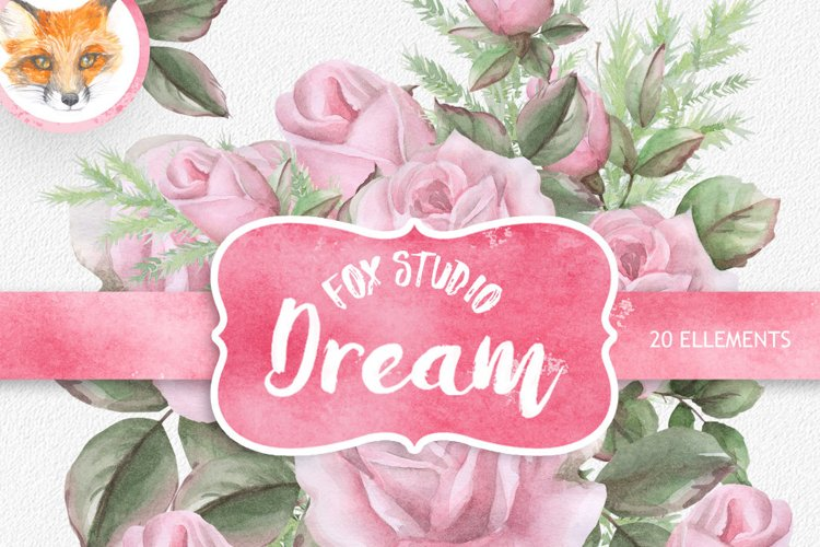 English Roses Watercolour Clipart. Hand painted watercolour example image 1