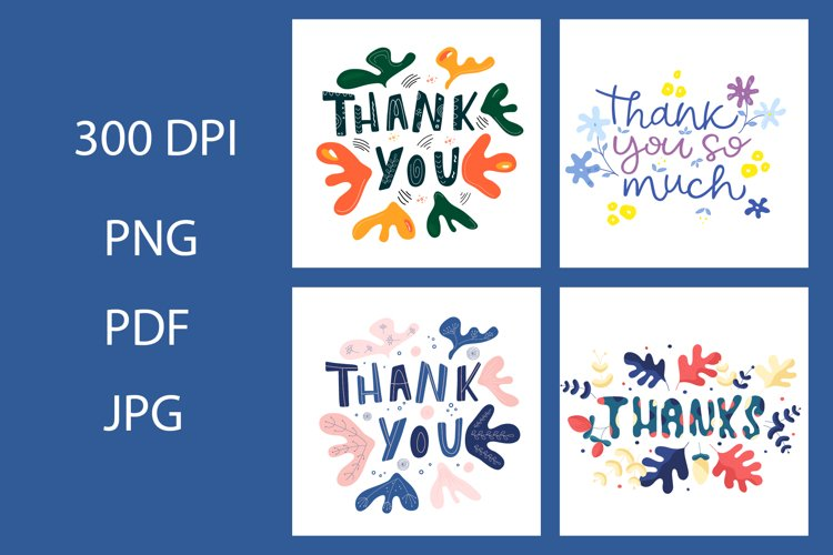 Thank you card Bundle. Thank you card clipart example image 1