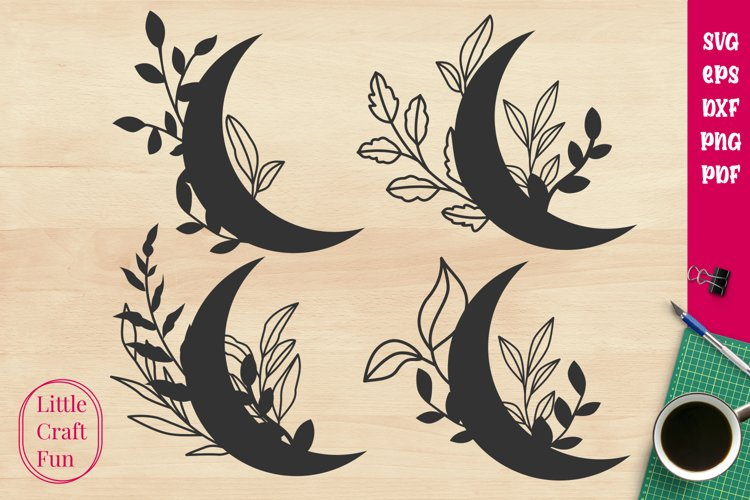 Crescent Leaves Svg example image 1
