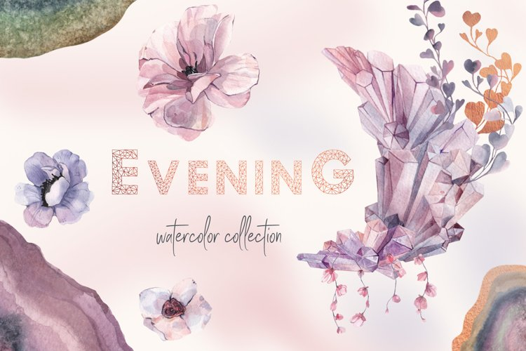 Mauve Gemstones Watercolor Clipart example image 1