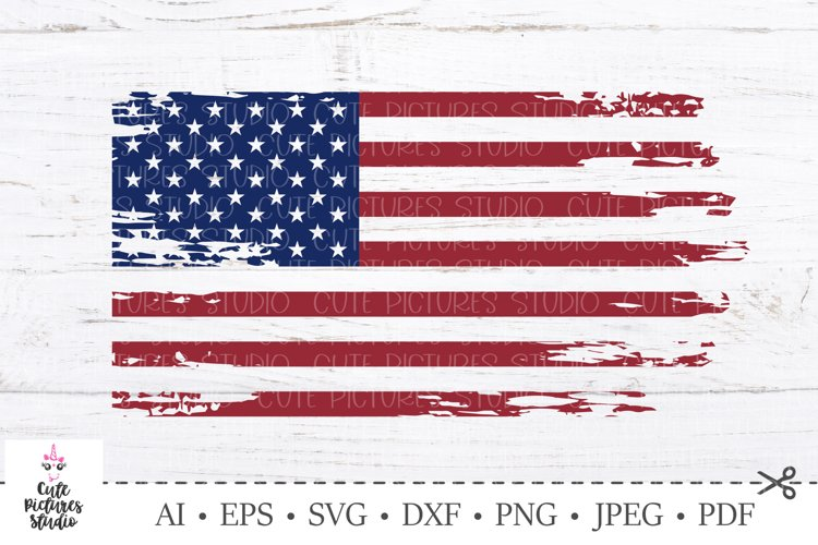 American flag distressed. 4th of July SVG. Independence Day. example image 1