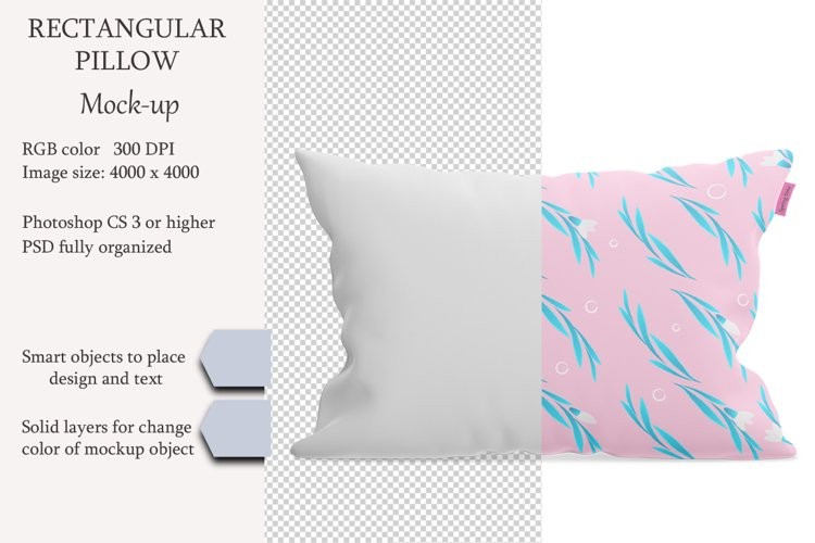 Rectangular pillow mockup. Front view. Product mockup. example image 1