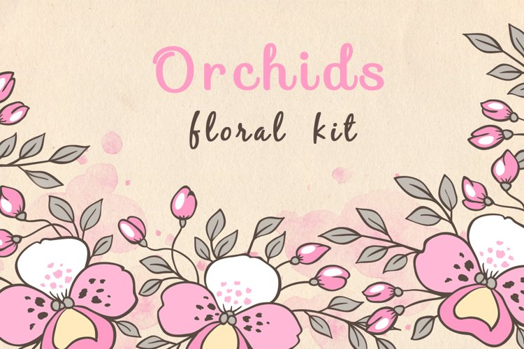 Doodle Design Elements with Orchids example image 1