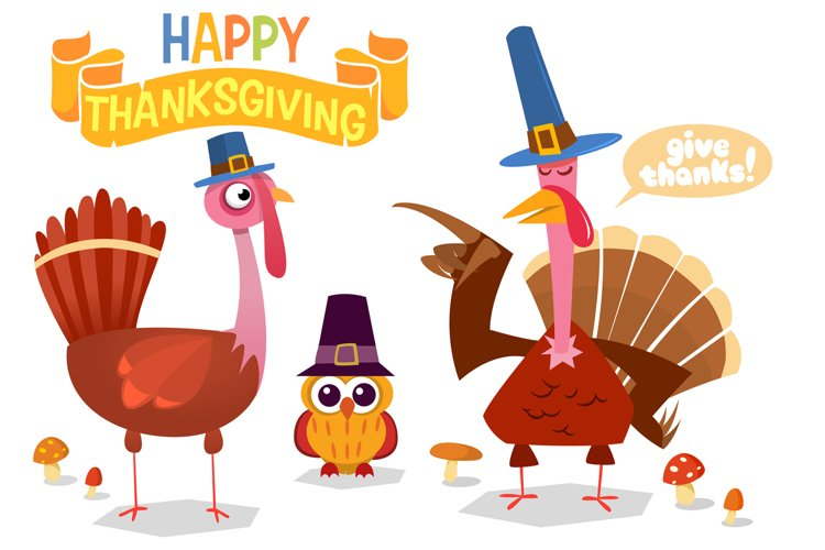 Thanksgiving Day Turkeys Cartoon Vector Illustration