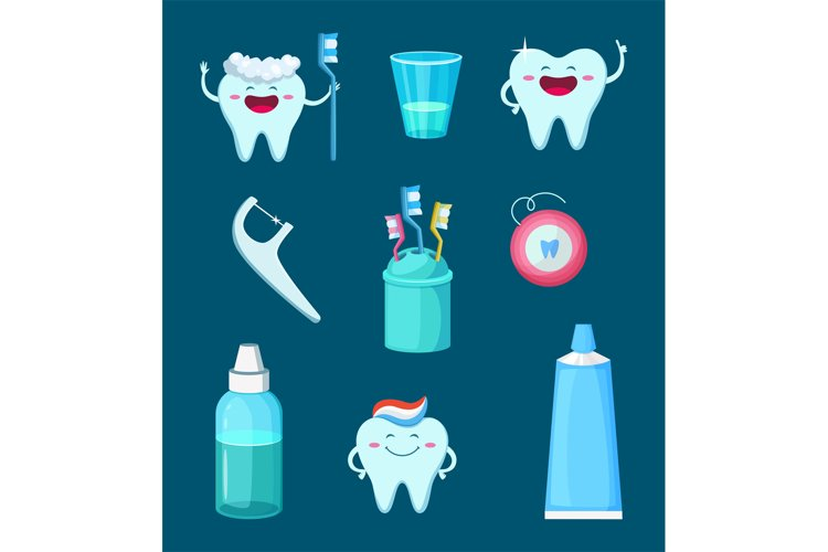 Funny characters illustration. Cartoon teeth with different example image 1