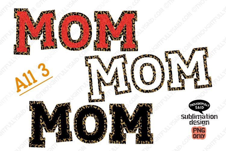 MOM PNG For Sublimation, all 3 designs included example image 1