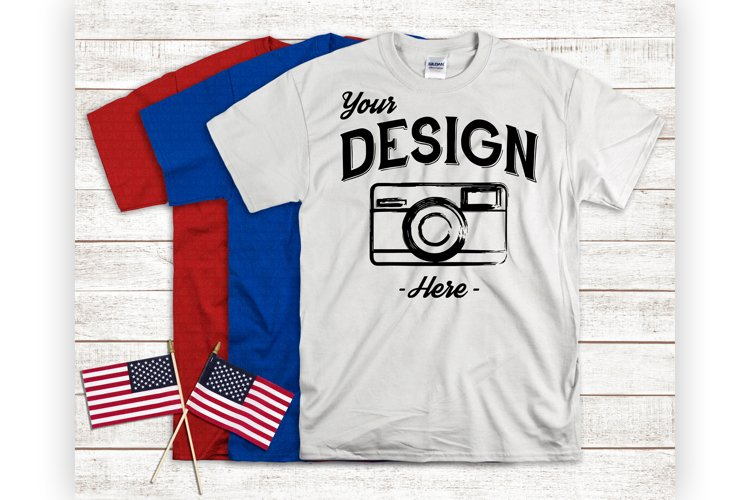 America T-Shirt Mockup Red White And Blue Flatlay With Flags example image 1